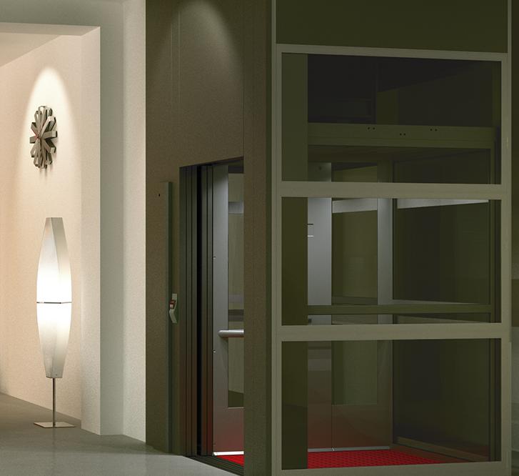 Cibes A9000 keltuvas su kabina, automatinėmis (lifto tipo) durimis ir šachta